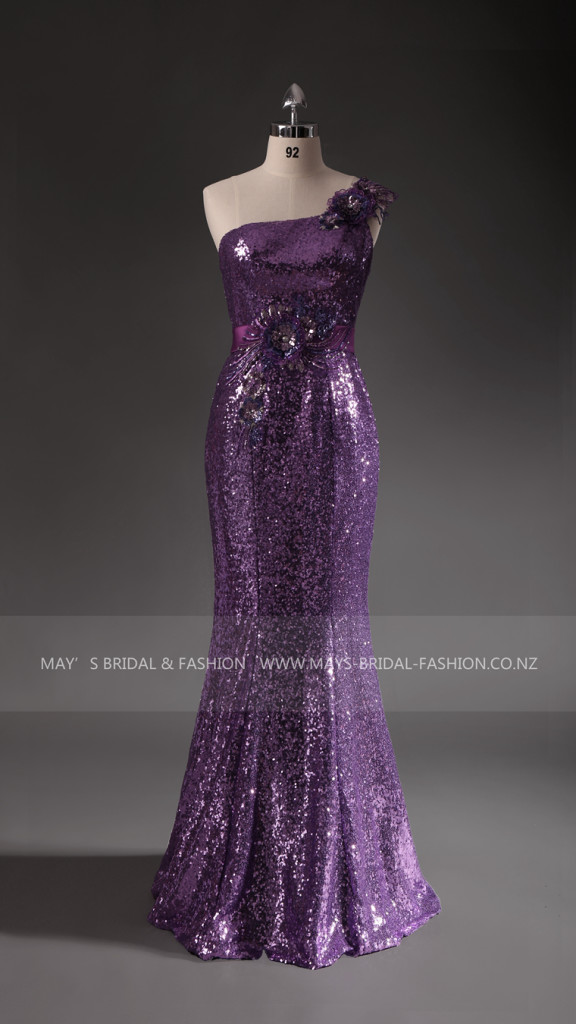 Special Occasion Dress: Sparkly Purple off the shoulder Mermaid Style Dress